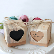 10pcs/lot Romantic Vintage Heart Kraft paper Candy Box  With Burlap Twine Wedding Favors and Gifts Bag Party wedding Supplies