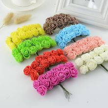 12pcs Mini Foam Rose Artificial Flowers For Home Wedding Car Decoration DIY Pompom Wreath Decorative Bridal Flower Fake Flowers