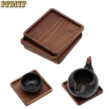 PFDIYF 4pcs/set Black walnut Wood Coasters Cup Bowl Pad Mat Coffee Tea Cup Pads&Mats Teapot Drink Coasters For Home Decor Bar(China)