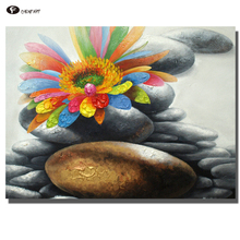 CHENFART Decorative Paintings Still Life Stone and Flowers Oil Painting for Living Room Posters and Prints(China)