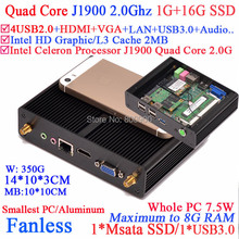 Fanless pc with Intel Celeron Quad Core J1900 CPU HDMI VGA dual display smallest size aluminum 1G RAM 16G SSD windows or linux
