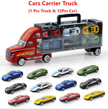 1XSet=13Pcs Transport Car Carrier Truck Boys Toy (includes Alloy Metal 12PcsCars+ 1PcsTruck) For Kids Children(China)