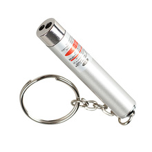 New Mini 2in1 Laser Torch Flashlight Portable LED Light Torch Keychain Silver M25(China)