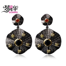 DreamCarnival1989 Gothic Vintage Earings for Women Jewelry Pendant Drop Black Olivine Red CZ X'mas brinco feminino zirconia luxo(China)