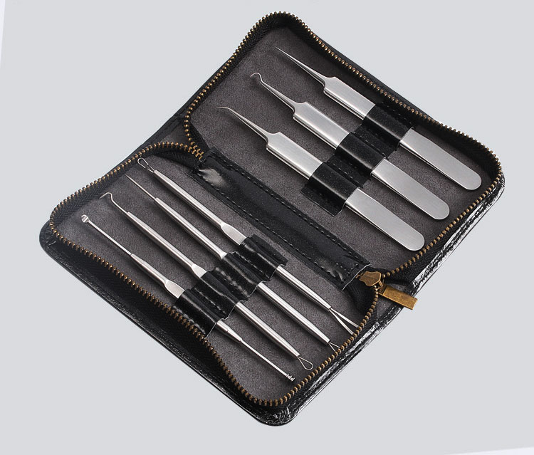 Newest 7pcs Acne Needle Tweezers Blackhead Remover Acne Blemish Pimples Comedone Removal Extractor Set Face Skin Care Tools 20