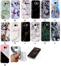 New For Samsung Galaxy S7,S7 Edge Blue White Green Black Marble Designs High Quality Phone Case Gloss TPU Soft  Back Case Cover