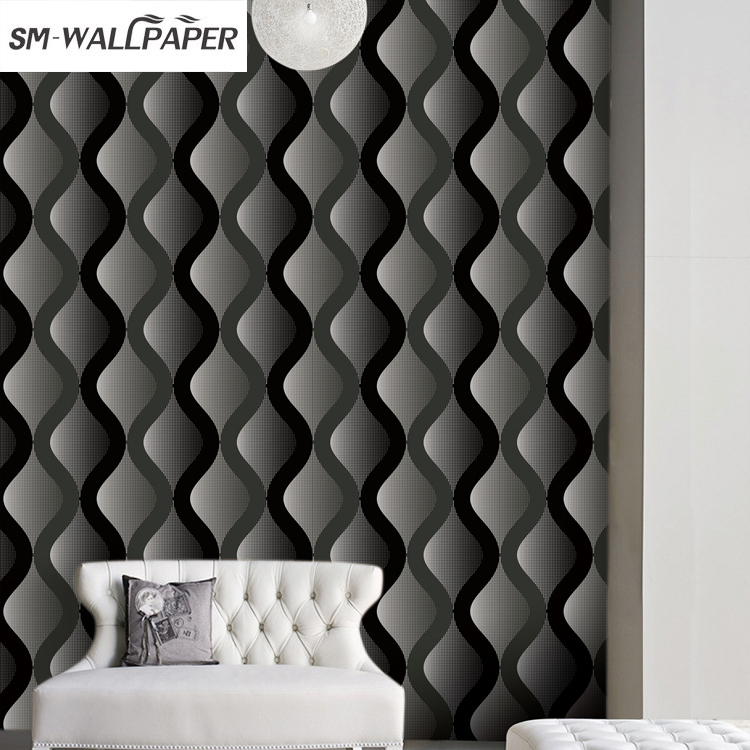 Fashion Style Living Room Sofa Wall Paper 3D PVC Waterproof Design Modern Home Decor Paper Geometric Striped Wallpaper<br>