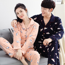 Autumn 100% Cotton Long Sleeve Cartoon Printing Lovers Sleepwear Sets A9060(China)