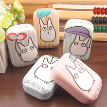 Totoro Cosmetic Contact lens case with mirror colored contact lens case cute Lovely Travel box Eyewear Accessories(China)