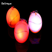 Advertising gifts Led Basketball touch flashing key chain pendant Luminous key ring Changing light colorful water toys for baby