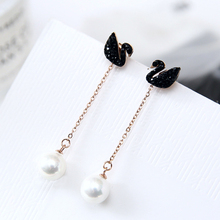 YUN RUO Elegant Black Swan Pearl Stud Earring Woman Rose Gold Color Titanium Steel Jewelry Girl Birthday Gift Not Fade 2018 New(China)
