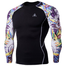 BDLJ Compression shirts Men's 3D Digital Printing Fitness Clothes Wear Long Sleeve Tattoo T shirts Man Fitness Clothing Male Top(China)