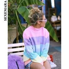 SEXEMARA Rainbow Sweater Women Pullover Knitted Korean Style Kawaii Jumper Loose Oversized Turtleneck Top 2018 Autumn C0-AG95(China)