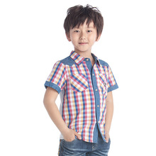 boys dress shirt short sleeve kids lattice shirts summer brand kids shirt fashion kids boys clothing kids denim shirts(China)