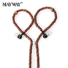 New Earphones Beads Necklace Chain In-Ear Wooden Diamond Earphone with Microphone Stereo for xiaomi iPhone samsung huawei iPad(China)
