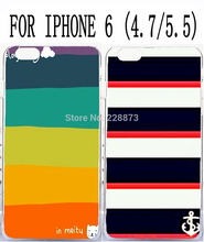 Soft TPU Hard Plastic Striped Colorful Background Pattern Custom mobile cell phone case for apple iphone 6 4.7 iphone6 plus 5.5