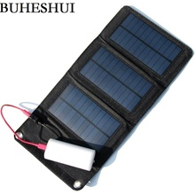 BUHESHUI 5W Foldable Mono Solar Panel Charger Solar Charger Mobile Power Battery Charger For Cell Phone Black Free Shipping(China)