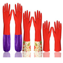 Hot  Waterproof Household Glove Warm Dishwashing Glove Water Dust Stop Cleaning Rubber Glove