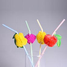 New Fashion 50pcs/lot  Assorted Multicolor Plastic Fruit Cocktail Drinking Straw BBQ Hawaiian Party Theme Wedding Decoration