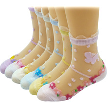 6 Pairs/Lot Girls Socks for Children Kids Mesh Style Baby Girl Floral Socks with Elastic Lace Flowers Butterfly Summer Wholesale(China)