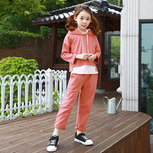 2017 Autumn Girls Fashion Outfit 2 pcs Clothes Orange Halloween Costumes Clothing Set for Teens Age56789 10 11 12 13 T Years Old(China)