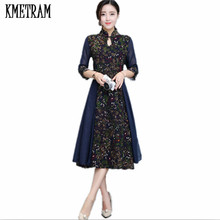 KMETRAM 2017 Original Retro Dress Design China Wind Cheongsam Vintage Ladies Long Dress Temperament Vestido Women Jurken HH275