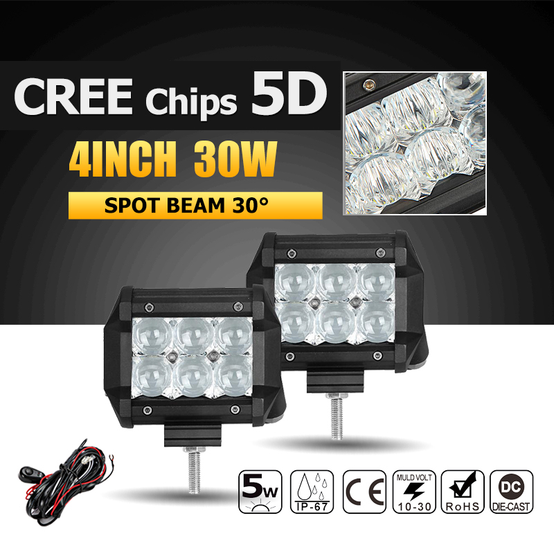 Oslamp 5D 30W 4 Spot CREE Chips LED Work Light Offroad Led Bar Lights Driving Lamp Headlight for Truck Boat ATV 4x4 4WD 12v 24v<br><br>Aliexpress