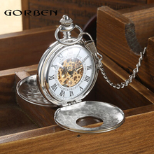 2016 Vintage Hollow Carving Analog Steampunk Mechanical Half Hunter Watch Roman Num Waist Chain 2 Side Men's Pocket Watches P402