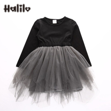 Halilo Kids Autumn Dresses 2017 Toddler Girl Dresses Long Sleeve Little Girls Tutu Dress Children Clothing Thanksgiving Dress(China)