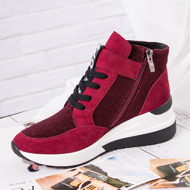BELISS 2018 spring autumn ankle boots wedges cow suede leather platform hook loop women sneakers (29)777