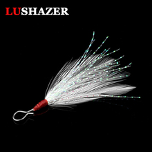 50pcs/lot LUSHAZER Free shipping lure Gtbio metal lure feather bulk feather fishing lure supplies Fishing Accessories(China)