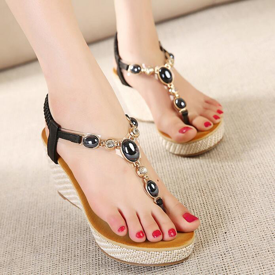 2017 vintage sweet women sandals high-heeled bohemian beaded wedge platform high heels female summer shoes woman free shipping<br><br>Aliexpress