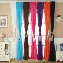 Happy Sale   Solid Color Tulle Door Window Curtain Drape Panel Sheer Scarf Valance sep928