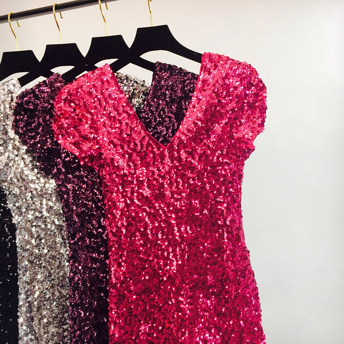 Sexy Sequin Mini Hip Dress Women Short Sleeve V Neck Shinny Beading Squined Night Club Dress Sparkly Cocktail Sexy Party Dresses 6