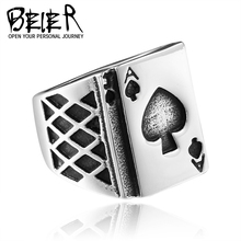 BEIER Playing Card Ring Stainless Steel Fashion Man's Gothic Bring Lucky Jewelry BR8-265