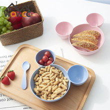 Pure natural Wheat Straw Cartoon Lunch Box Tray Dishes Kids Bowl Plate Spoon And Fork Chopsticks Kids Bowl Dinnerware Set