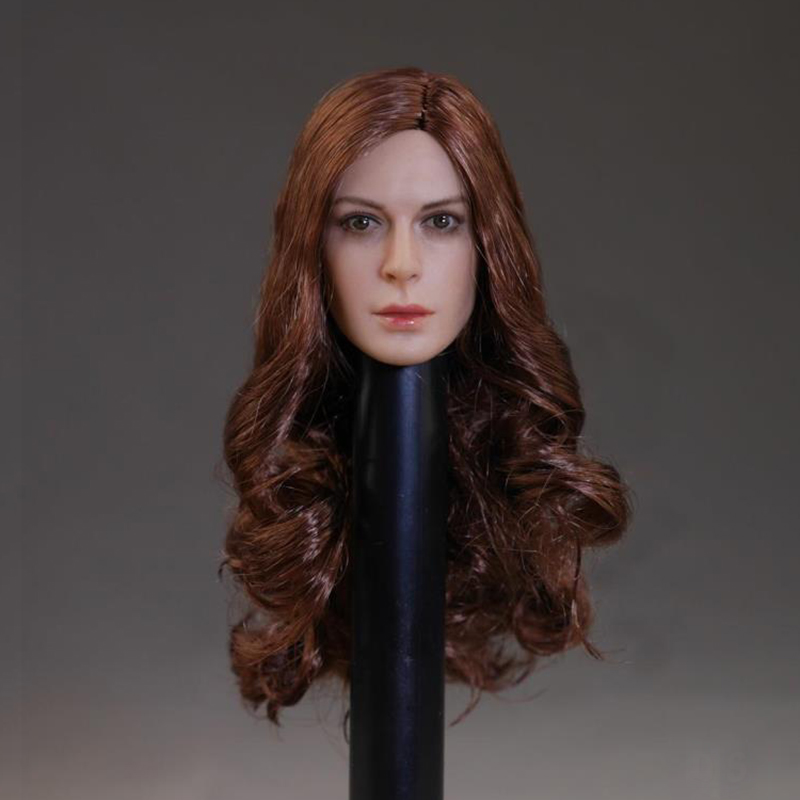 1/6 Scale European Female Head Sculpt Anne Hathaway Long Curly Hair Headplay for 12 inches Action Figures<br>