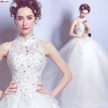 2017 New Arrival Vintage Small Stand Collar Halter Ball Gown Wedding Dress + Free Petticoat 213