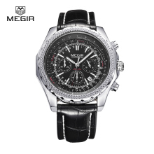 MEGIR Relogio Masculino Top Brand Luxury Military Watches Leather Men Sports Watch Chronograph 24 Hours Function Watches 2007
