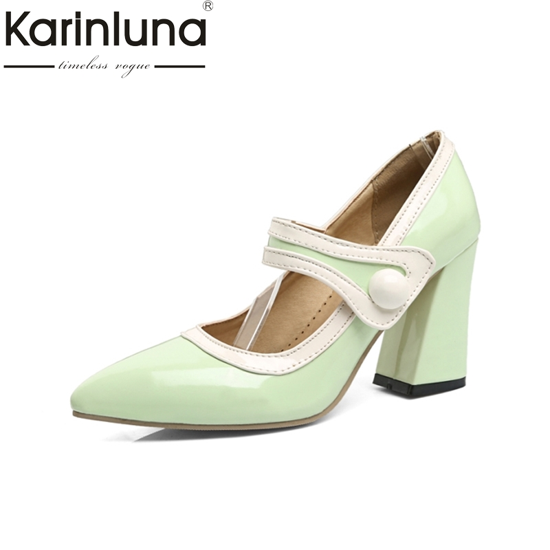 KARINLUNA Brand New Pointed Toe Slip On Big Size 32-45 Women Shoes Woman Pumps Sqaure High Heels For Party Wedding<br>