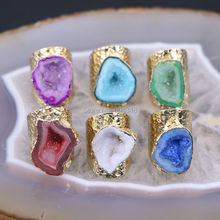 5pcs Mixed Colors Geode Ring Golden Electroformed Freeform Drusy Gem stone Jewelry Rings(China)