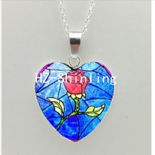 New Beauty and the Beast Heart Necklace Red Rose Heart Pendant Beauty Jewelry Women Heart Shaped Necklace