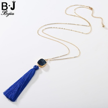 BOJIU New Fashion Natural Onyx Ag. Druzy Hole Stone Pendant Tassel Cable Chain Woman Long Pendant Necklace