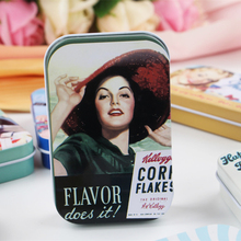 Fashion Girl Picture Tin Box Rectangle Mac Makeup Organizer Vintage Style Food Container 4Piece/Lot Sundries Collectable Case
