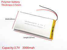for tablet pc 3560107 35mm*60mm*107mm 3.7V 3000mah (polymer lithium ion battery) Li-ion battery Free Shipping used ONDA V703(China)
