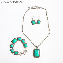 2017 new good quality fashion square turquoise jewelry sets for women party necklace earrings bracelet 3 pieces set fj172 YOUREM