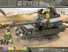 SLUBAN plastic toy gift building block Army T90 Tank Armored Corps car model 1pc(China)