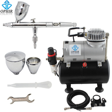 OPHIR Model Airbrush Compressor Kit Set 110V 220V Air Tank Compressor w/ Airbrush Paint for Makeup Hobby Nail Art Tool_AC090+006(China)