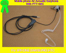 Air Tube Acoustic Tube 3.5mm Mono Earphone Handsfree for Iphone,Samsung,HTC Mobile phone(China)