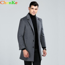 ChenKe Brand Men Woolen Coats Autumn Winter Casual Slim Long Thickened Wool Jackets and Coat,Wedding Coats For Men(China)